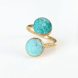 Natural turquoise gold-plated wrap ring